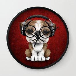 English Bulldog Puppy Dj Wearing Headphones and Glasses on Red Wall Clock
