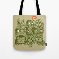 sale Tote Bags featuring Wisdom to the Nines by Rachel Caldwell