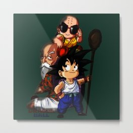 Goku Krilin master roshi Metal Print