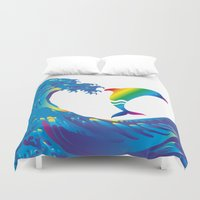 hokusai Duvet Covers featuring Hokusai Rainbow & dolphin_E by FACTORIE