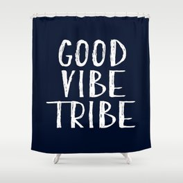 Good Vibe Tribe - Navy Blue and White Shower Curtain