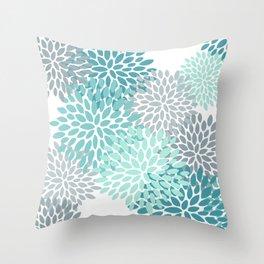 Festive, Winter Garden, Flowers Print Throw Pillow