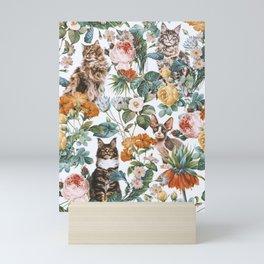 Cat and Floral Pattern III Mini Art Print