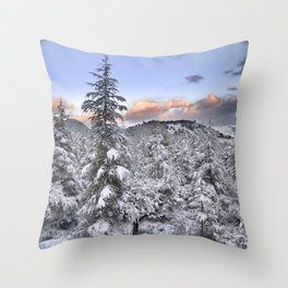 """""""Mountain light II"""". Snowy forest at sunset Throw Pillow"""
