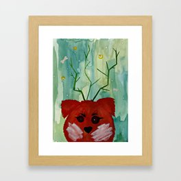 Lucky Dog Green Framed Art Print