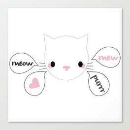 Talkative Kitty in White Canvas Print