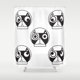 We are watching you. MEOW!!! (Space Cat) Shower Curtain
