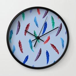 Watercolor Feathers Pattern on Light Steel Blue Wall Clock