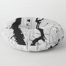 New York City Black and White Map Floor Pillow