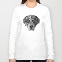 rottweiler Long Sleeve T-shirts featuring Ornate Rottweiler by Adrian Dominguez