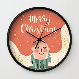 Redhead Woman Christmas Wall Clock