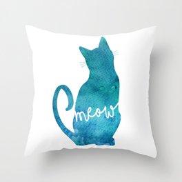 Watercolour Cat Silhouette Throw Pillow