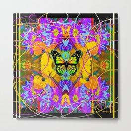 Monarch Butterfly Garden Abstract Metal Print