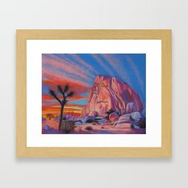 Glowing Joshua Tree sunset as the climbing day draws to a close Framed Art Print