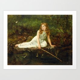 """John Collier """"The Butterfly inscribed 'Portrait of Mabel...'"""" Art Print"""
