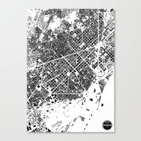 barcelona Canvas Prints featuring Barcelona by Maps Factory