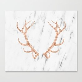 Rose gold antlers on soft white marble Canvas Print