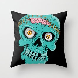 Skull with opened brain Throw Pillow