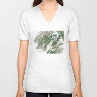 yoda V-neck T-shirts featuring Yoda by Luis Dourado