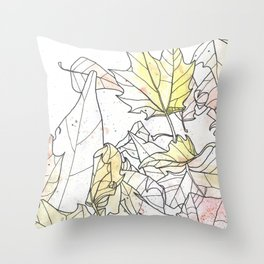 Autumn Leaves Watercolor Throw Pillow
