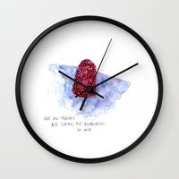 the cure Wall Clocks featuring berry cure by The Tiny Fishbowl Collection