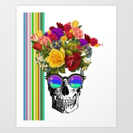 Colorful Cool Hip Skull with flowers Kunstdrucke