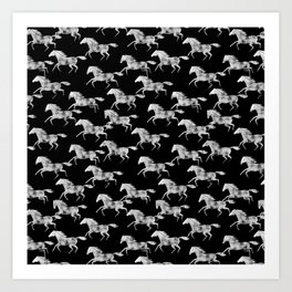 wild horses - black Art Print