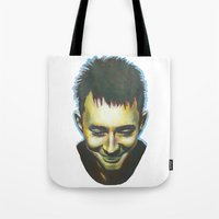 radiohead Tote Bags featuring Radiohead by Laura O'Connor