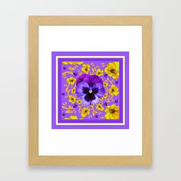 LILAC PANSIES YELLOW BUTTERFLIES & FLOWERS Framed Art Print