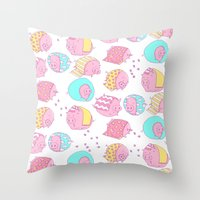 blankets Throw Pillows featuring Pigs in Blankets by stephstilwell