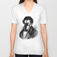 mask V-neck T-shirts featuring Mask by DIVIDUS