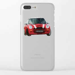 Red Mini Cooper S Polygon Art Clear iPhone Case