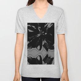 Black Floral Unisex V-Neck