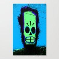 grim fandango Canvas Prints featuring Manny Calavera, Blue version (Grim Fandango) by acefecoo