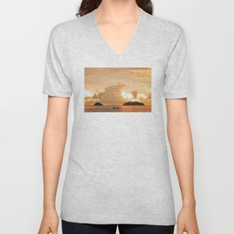 Clouded sunset, warm sunset Unisex V-Neck