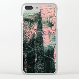 Standing // acrylic painting, pink & green Clear iPhone Case