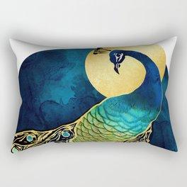 Golden Peacock Rectangular Pillow