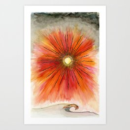 Sunburst Collection: Red Sky Sunburst with a Single Wave Art Print