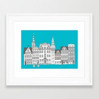 copenhagen Framed Art Prints featuring Copenhagen by helena carrington
