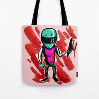 hotline miami Tote Bags featuring Hotline Miami: Biker by Paul Scott (Dracula is Still a Threat)