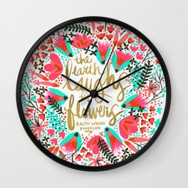 The Earth Laughs in Flowers – Pink & Gold Wall Clock