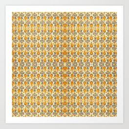 Orange Garden Patern Art Print
