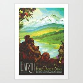 NASA Retro Space Travel Poster #2 - Earth Art Print