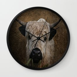 White High Park Cattle Chewing Grass Wall Clock
