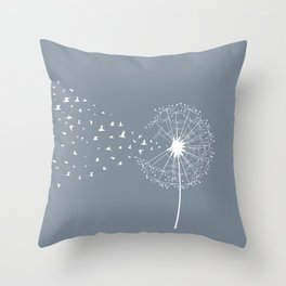 Dandelion and birds Throw Pillow
