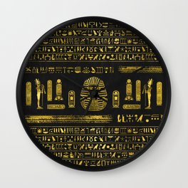 Golden Egyptian Sphinx on black leather Wall Clock