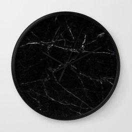 Black Marble Print Wall Clock
