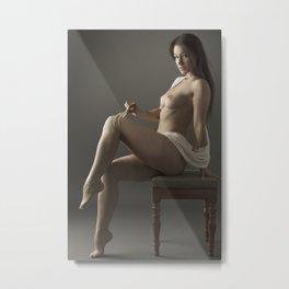 beige stockings 05 Metal Print