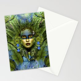"""Tropical green and indigo jungle Woman"" Stationery Cards"