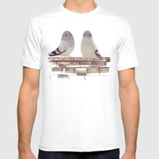 Pigeons in love Mens Fitted Tee White MEDIUM